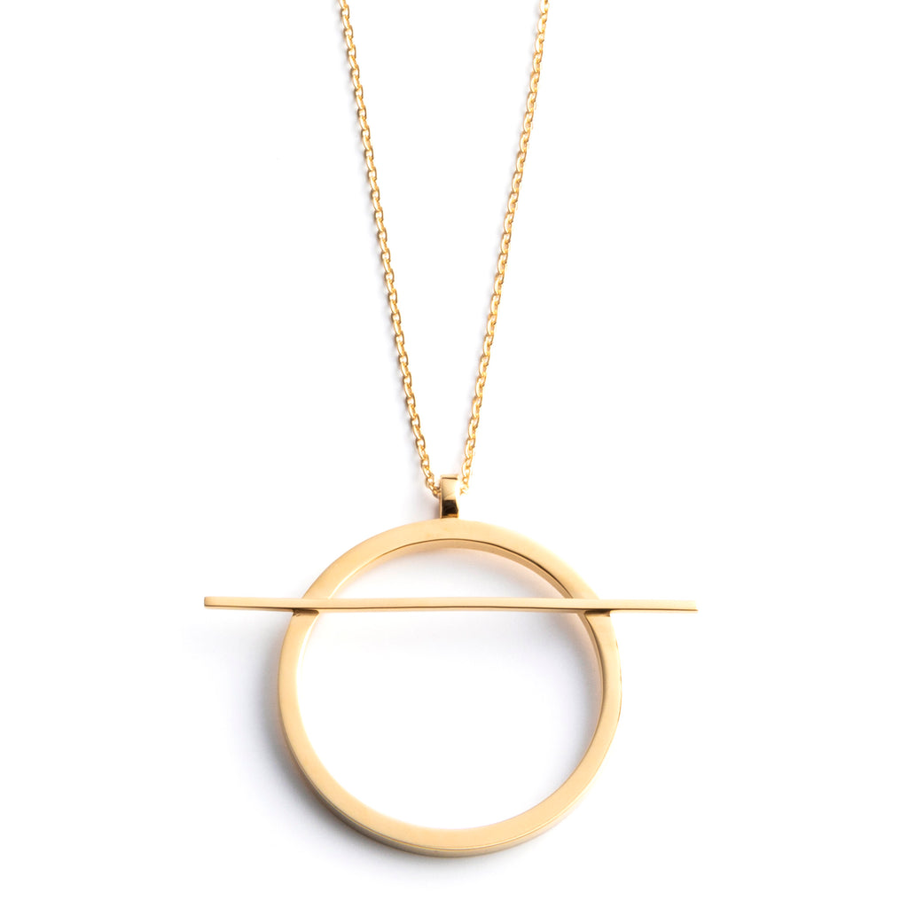 geometric long circle necklace