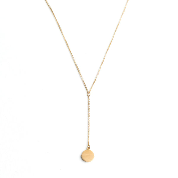 Dipped Disc Drop Necklace