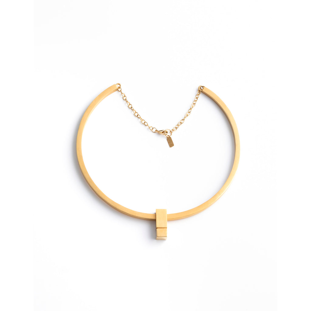 geometric statement collar necklace