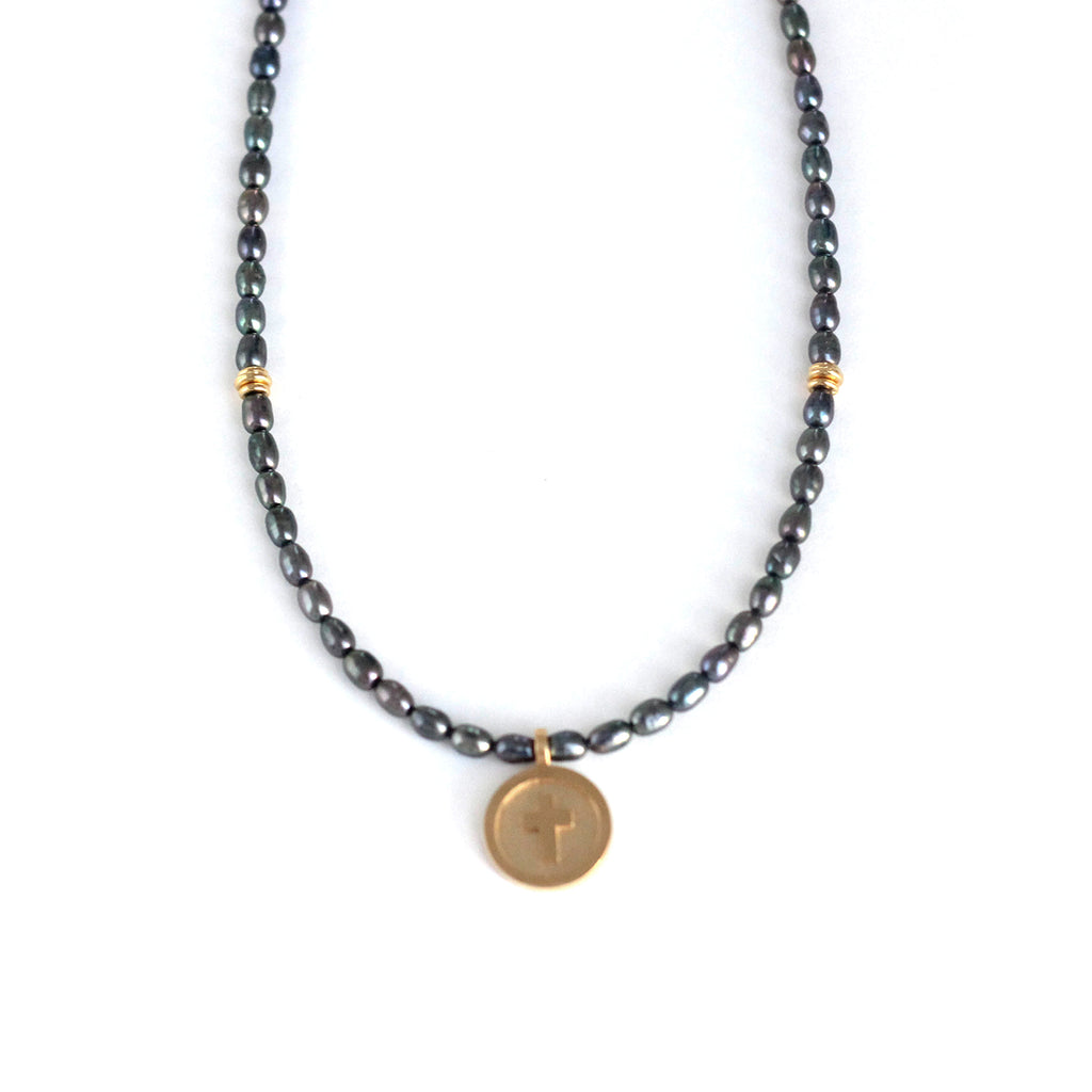 Pearl Cross Medallion Necklace - Black