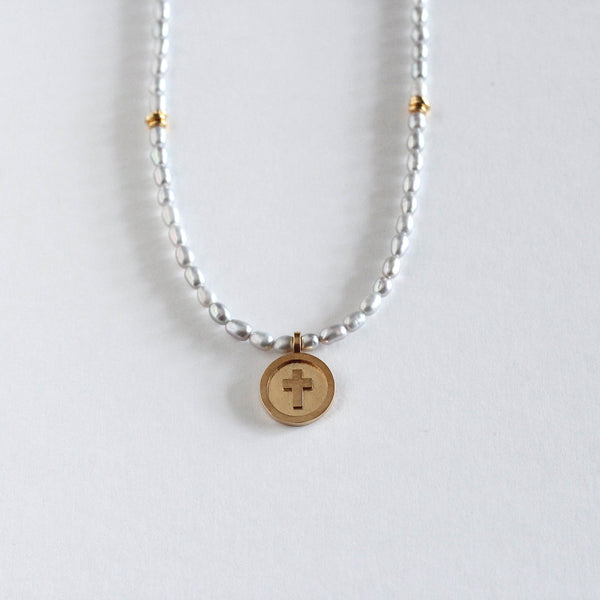 Pearl Cross Medallion Necklace - Grey