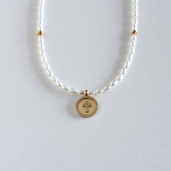 Pearl Cross Medallion Necklace - Ivory