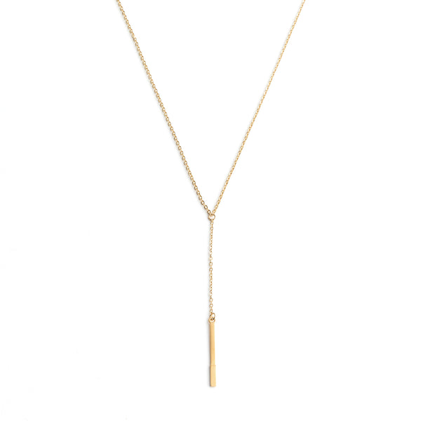 gold bar drop necklace