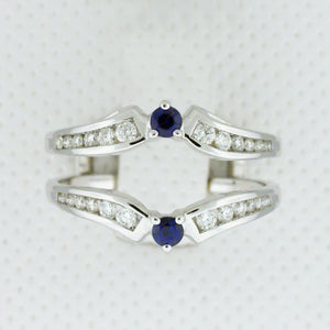 14k White Gold Sapphire and Diamond Ring Wrap