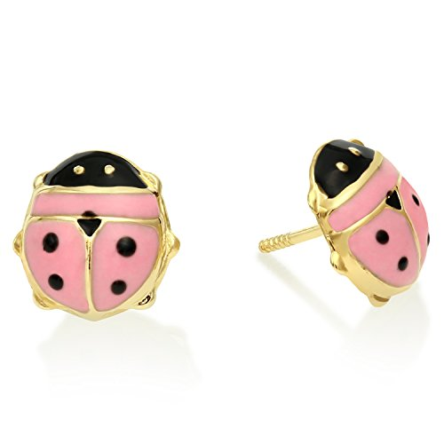 Children's Jewelry- Gold Pink Ladybug Earrings