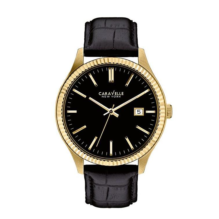 Caravelle Men's Watch With Gold Tone Bezel.