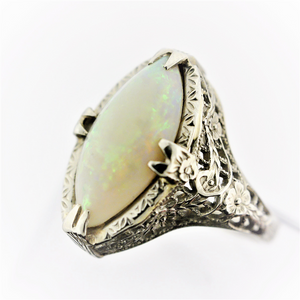 18k White Gold Marquise Opal Filigree Estate Ring