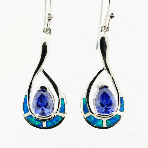 Sterling Silver Opal Tanzanite Earrings