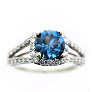 14k White Gold Halo London Blue Topaz and Diamond Ring