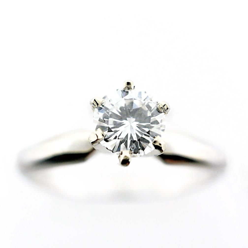 14k White Gold Classic Solitaire Diamond Ring