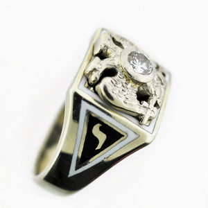 14k White Gold 32nd Degree Masonic Diamond Ring