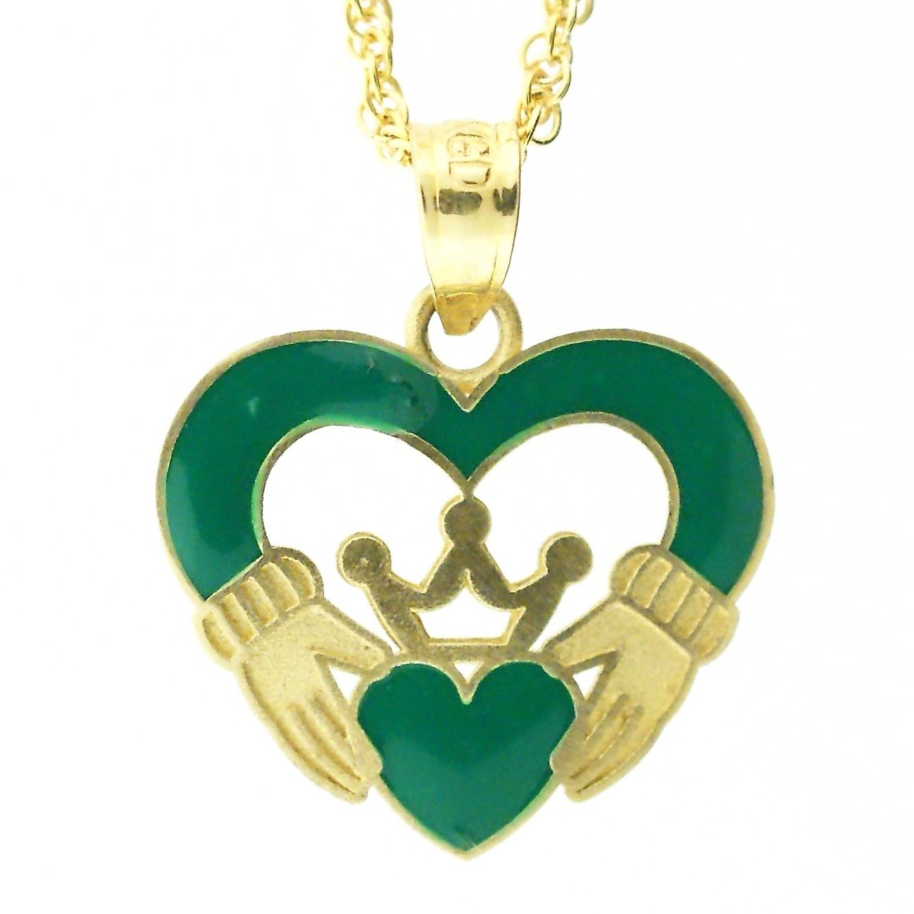 14k Yellow Gold Green Enamel Claddagh Necklace