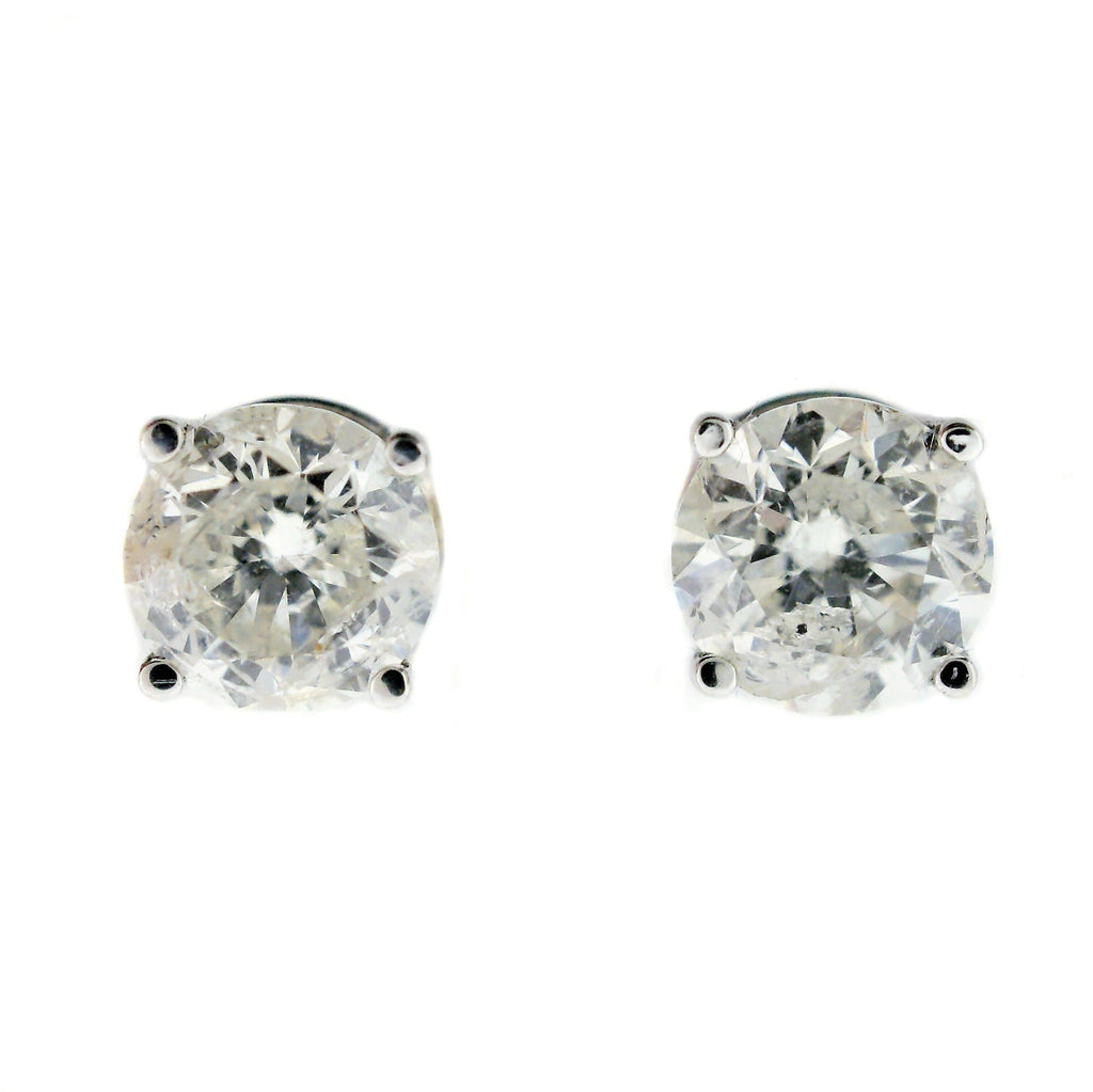 diamond solid white a synthetic piece diamonds gold ok quality women cushion earrings stud for halo threeman great item