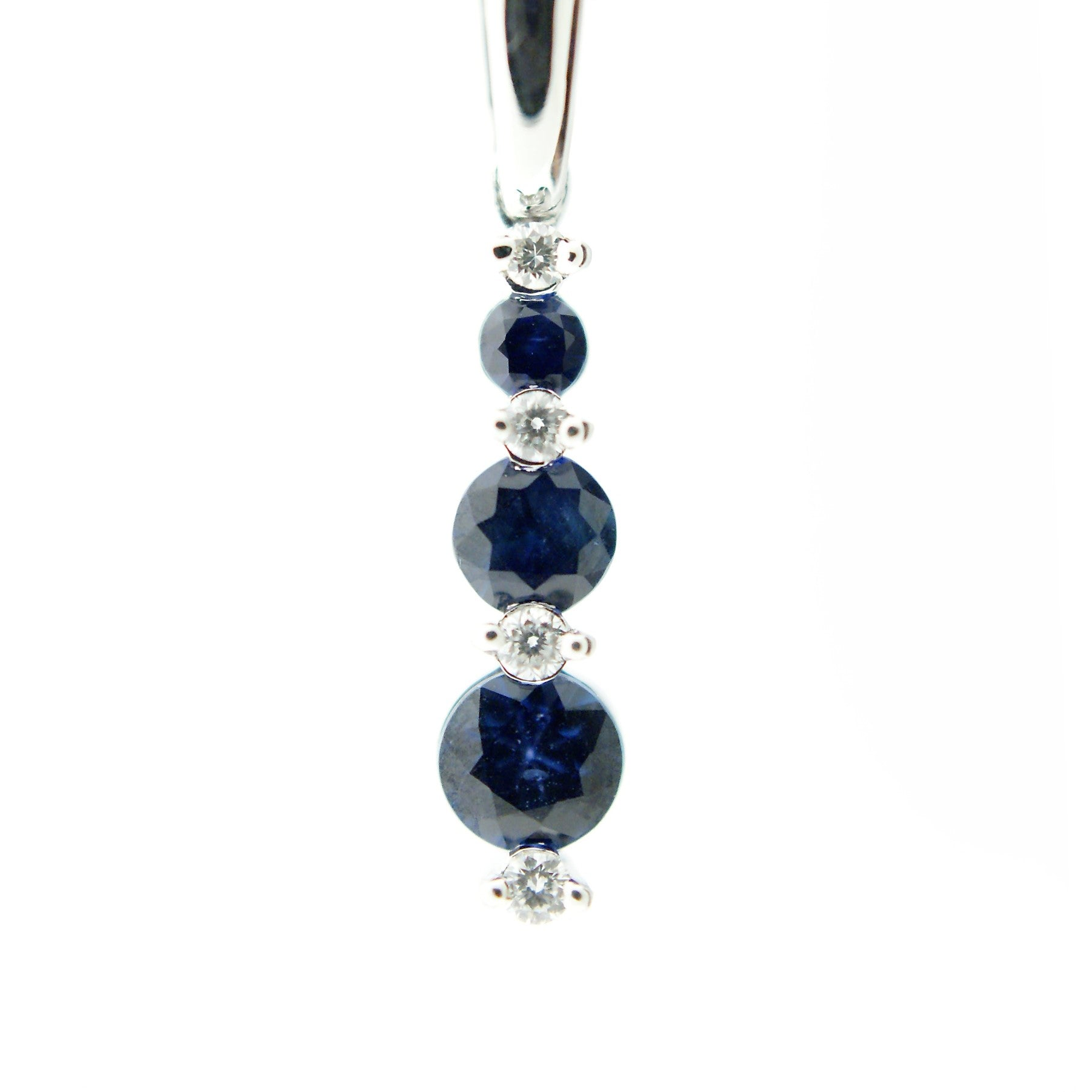 14k White Gold 3 Sapphire and Diamond Necklace