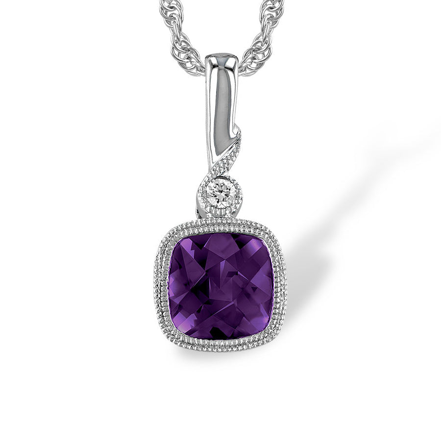 14k Amethyst Necklace with a Diamond
