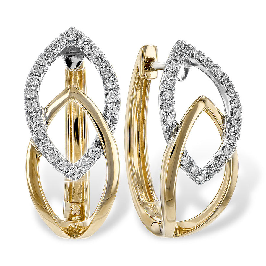14k White Gold, Yellow Gold and Diamond Apex Earrings