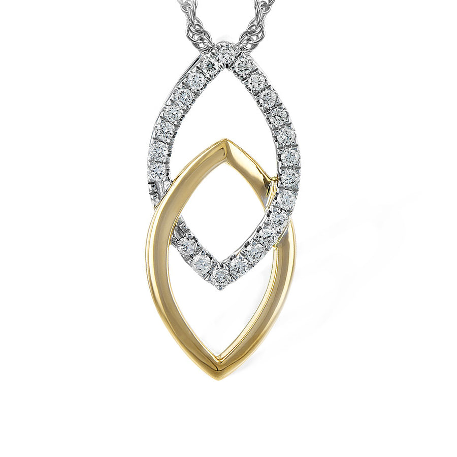 14k White Gold, Yellow Gold and Diamond Apex Necklace
