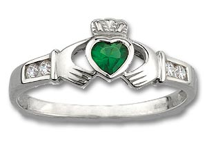 Sterling Silver May Stone Claddagh Ring