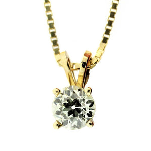 14k Round Brilliant Diamond Necklace