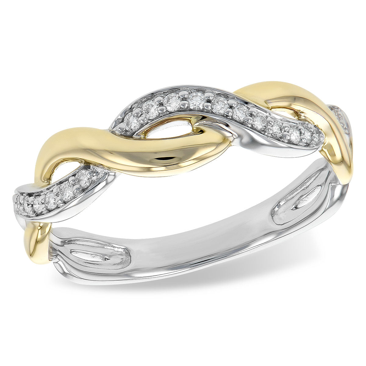 14k White Gold, Rose Gold and Diamond Twist Ring