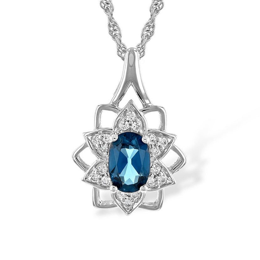 14k White Gold London Blue Topaz and Diamond Flower Necklace