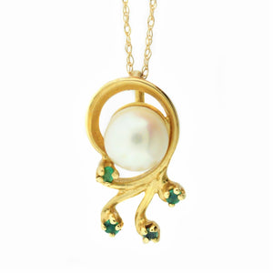 14k Yellow Gold Pearl and Emerald Estate Necklace