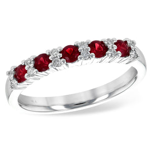 14k White Gold Diamond and Ruby Anniversary Ring