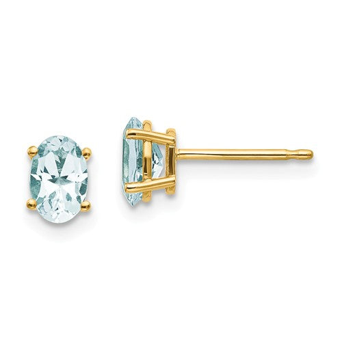 14k Yellow Gold Oval Aquamarine Post Earrings