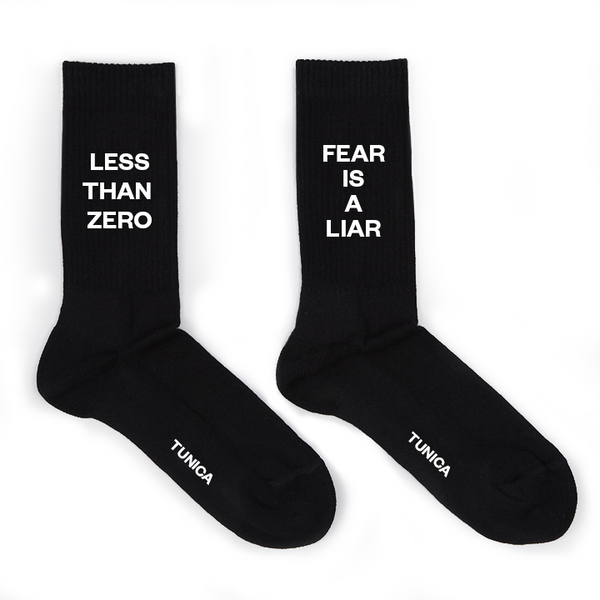 FEAR IS A LIAR & LESS THAN ZERO Socks