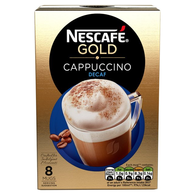 Nescafe Cafe Menu Cappuccino Decaff 8 Satchets