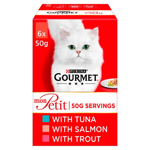 Gourmet Mon Petit Cat Food Pouches Fish Tuna, Salmon & Trout 6 x 50g