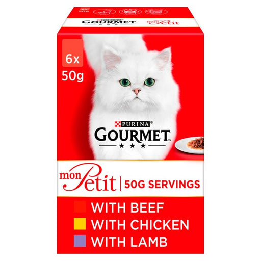 Gourmet Mon Petit Cat Food Pouches Meat Beef, Chicken & Lamb 6 x 50g