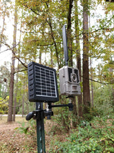 Load image into Gallery viewer, Dual Arm Trail Camera Tpost mount. Tactacam Reveal and Solar Mount