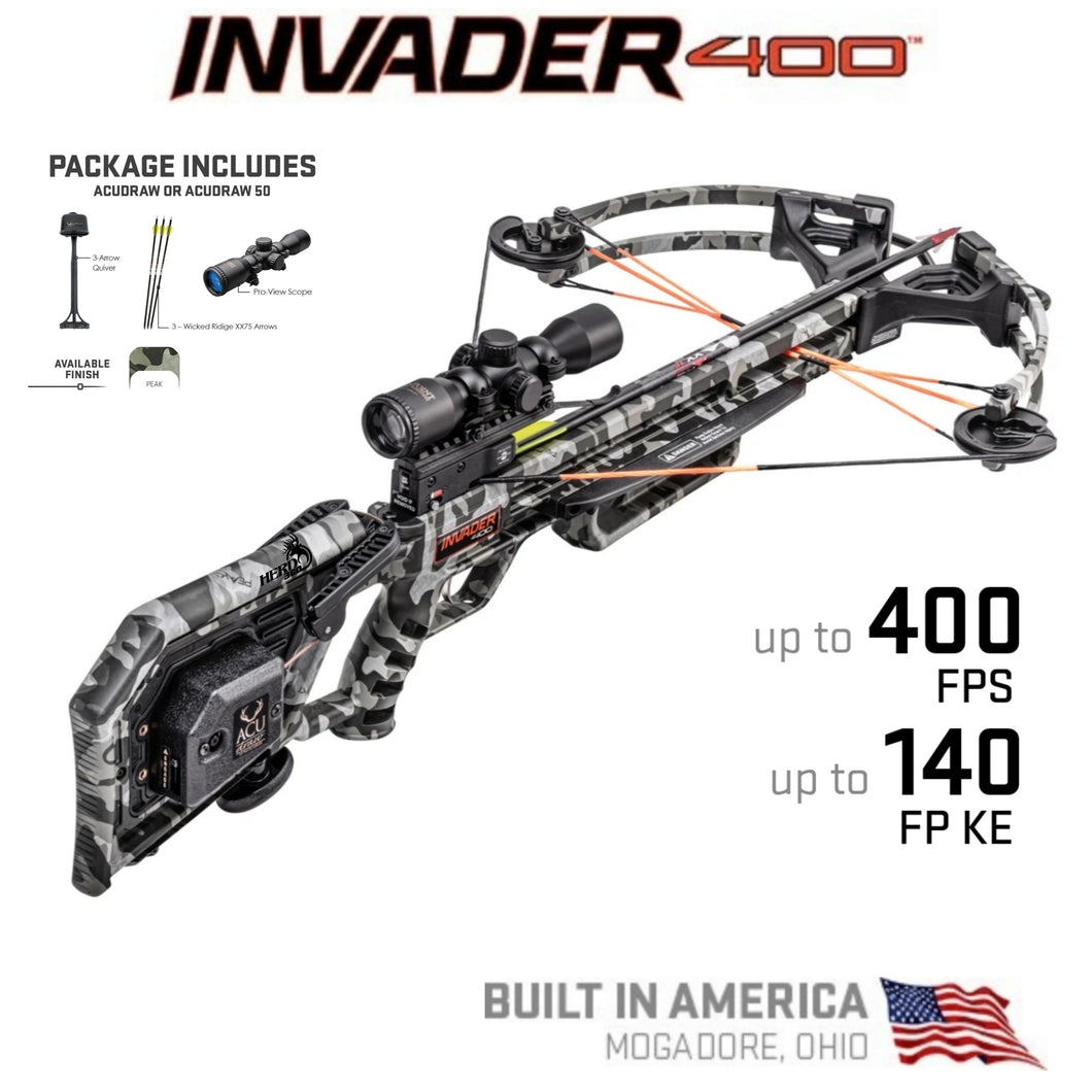 Wicked Ridge Invader 400 W/ACUdraw Cocking Device Pro View Scope Package