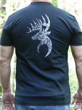 Load image into Gallery viewer, Herd 360 Tee Text Front Buck on Back Next Level Black 60/40