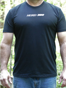 Herd 360 Tee Text Front Buck on Back Next Level Black 60/40