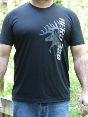 Herd 360 Tee Buck and Vertical Text Next Black Level 60/40