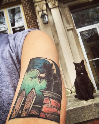 Tom's Coraline cat tattoo (and a cat!)