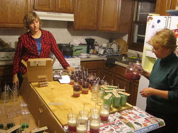 Me and mom making candles in the kitchen