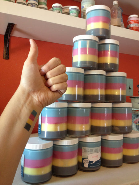 Stripy CMYK candles (and tattoo)