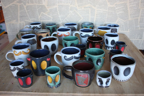 Making lots of moustache and monster mugs