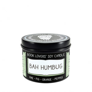 Bah Humbug - 4 oz Tin - Book Lovers' Soy Candle - Frostbeard Studio