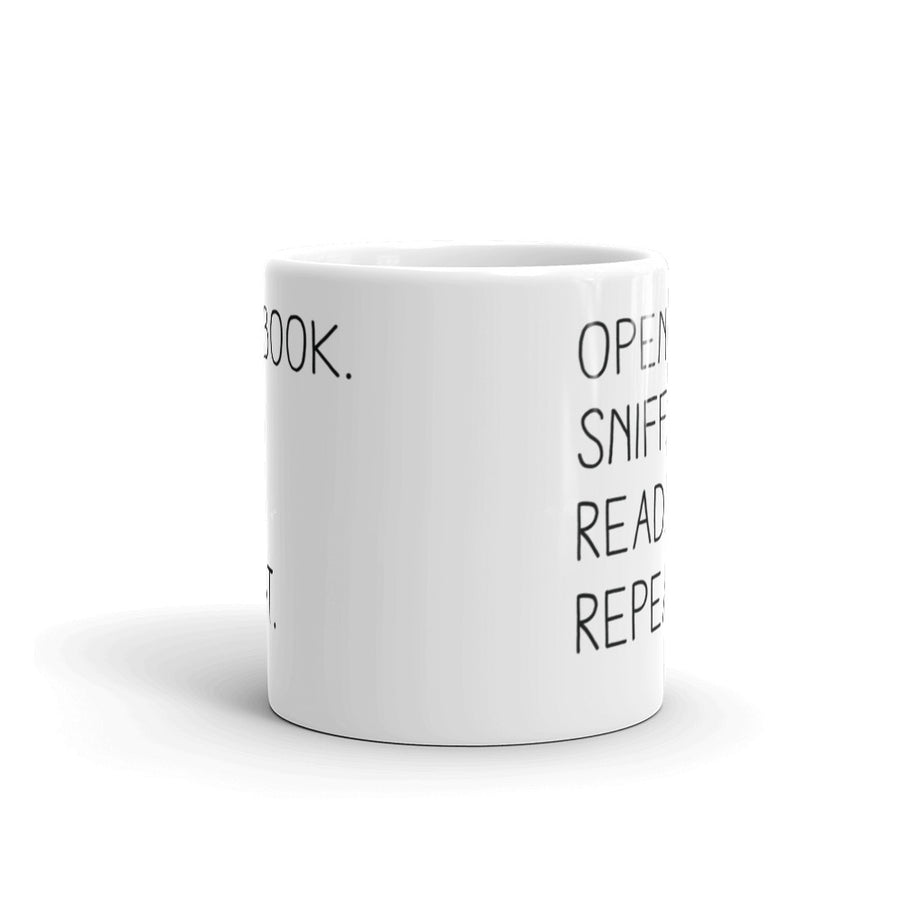 """Open Book. Sniff. Read. Repeat."" - Mug -  - Mug - Frostbeard Studio"