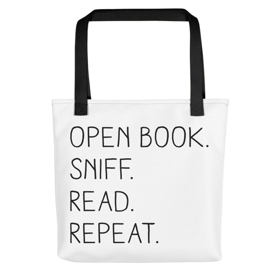 """Open Book. Sniff. Read. Repeat."" - Tote Bag - Black - Tote Bag - Frostbeard Studio"