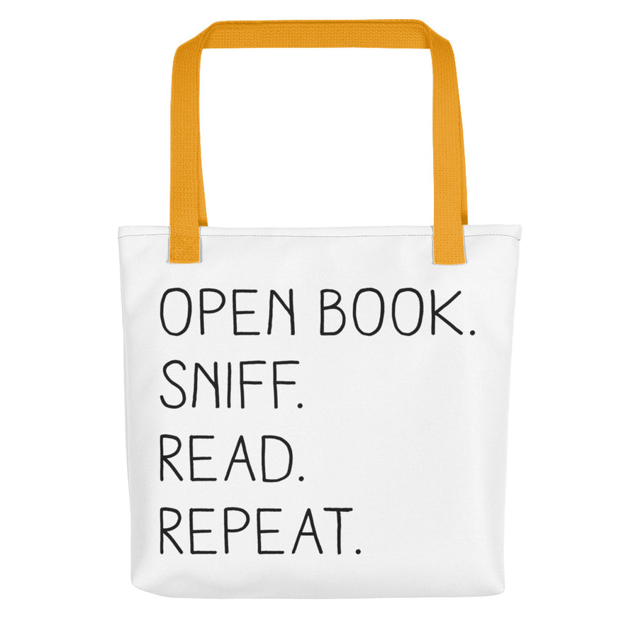 """Open Book. Sniff. Read. Repeat."" - Tote Bag - Yellow - Tote Bag - Frostbeard Studio"