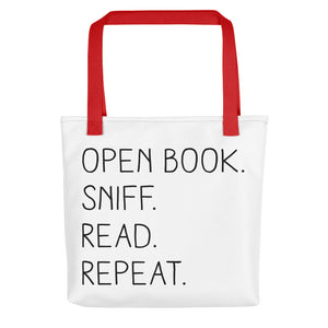 """Open Book. Sniff. Read. Repeat."" - Tote Bag - Red - Tote Bag - Frostbeard Studio"