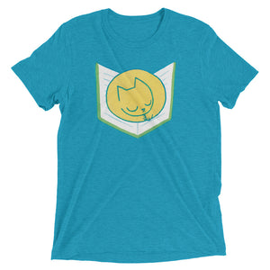 Cat Sleeping on Book - T-Shirt - Aqua Triblend / XS - T-Shirt - Frostbeard Studio
