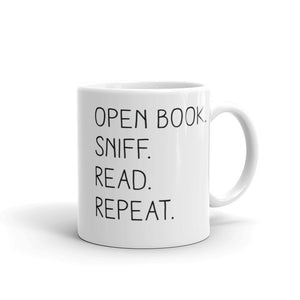 """Open Book. Sniff. Read. Repeat."" - Mug - 11oz - Mug - Frostbeard Studio"