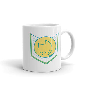 Cat Sleeping on Book - Mug - 11oz - Mug - Frostbeard Studio