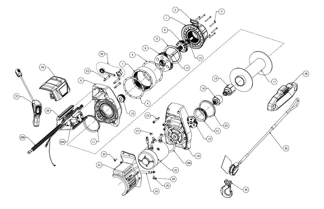 WARN 9.5cti-s Synthetic Truck Winch Exploded View